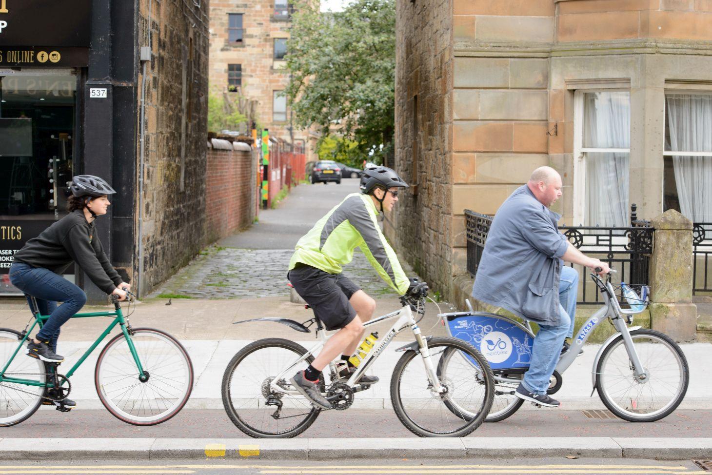 Cyclists on South City Way, Glasgow